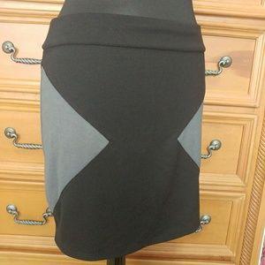 Silence + Noise Black Gray Stretch Pencil Skirt